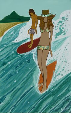 Andy Davis e a Arte que Expressa a Cultura do Surf Female Surfers, Surf Brands, California Surf, Muse Art, Tropical Art, Tropical Paradise, Ocean Art, Illustrations, Beach Art