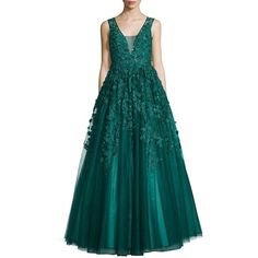Basix Black Label Floral Applique Gown (£1,030) ❤ liked on Polyvore featuring dresses, gowns, apparel & accessories, green dress, sequin dresses, beaded gown, green ball gown and skater skirts