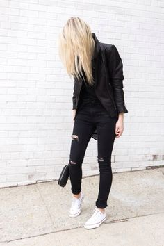 All black. Leather biker jacket, ripped skinnies, white canvas shoes. Minimal outfit.