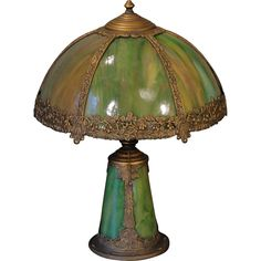 Very Sweet Small Floral Slag Glass Lighted Base Lamp found at www.rubylane.com @rubylanecom