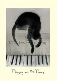 Cat playing piano ink