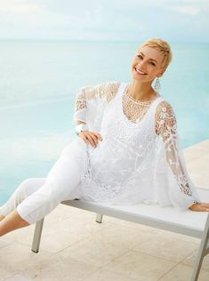 More Summer White in So Slimming Serene Stretch Crop, Tank Top and June Poncho