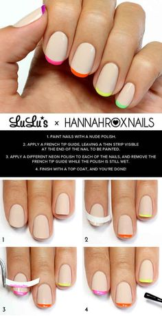 Nude And Neon French Tips   29 DIY Nail Tutorials You Need To Try This Spring
