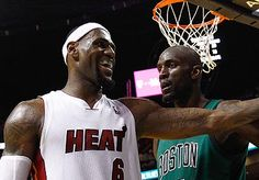 Lebron James laughing at Kevin Garnett. Miami wins game 1 of 2012 Eastern Conference Finals.