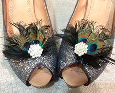 BLACK Peacock Feather Shoe Clips Set BLING by kristindangerdesigns, $40.00
