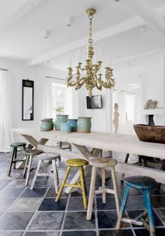 Harvest type tables are great if you have the room- love the collection of stools. They make the space have personality.