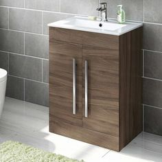 600mm Walnut Effect Floor Standing Basin Cabinet | Avon - Soak.com