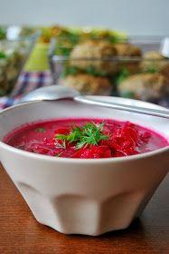 Zupa buraczkowa... Gęsta i sycąca zupa o pięknym, mocno czerwonym kolorze. Mocno jarzynowa, pełna wiórków buraczanych. Zabielona kwaśną ś...