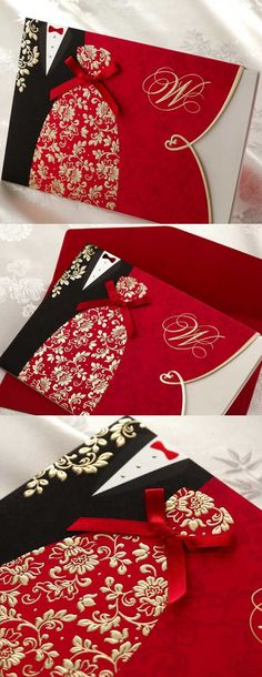 (10 pieces/lot) New Classic Bride And Groom Wedding Invitation Cards Red And Black Chinese Style Wedding Invitation Cards