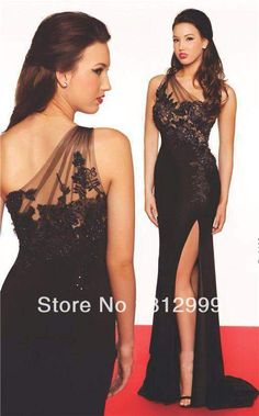 Black Lace Prom Dress Plus Size Chiffon Beads Evening Dress One Shoulder Formal Dress E296 Sz 2 4 6 8 -28W+Custom