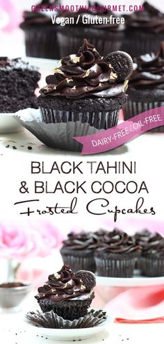 Black Tahini & Black Cocoa Frosted Vegan Cupcakes Dramatic delicious dairy-free and oil-free chocolate cupcakes using black tahini and black cocoa in both the cupcake and frosting, raising the calcium and antioxidant levels sky high! #vegan #dairyfree #cupcakes #cupcakes #glutenfree #blackcocoa #blacktahini #tahini #sesameseeds #glutenfree #blackcocoa #blacktahini #tahini #sesameseeds via Green Smoothie Gourmet | Easy Plant-based Recipes