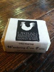 Wandering Cow Farm Urban Wood Soap Wandering Cow Farms uses a proprietary blend of essential oils to create our moisturizing, clean-scented soap bar.   Ingredients: Coconut Oil, Olive Oil, Palm Oil, Palm Kernel Oil, Sodium Hydroxide, Canola Oil, Sweet Almond Oil, Cocoa Butter, Castor Oil, Shea Butter, Aloe, Vitamin E, Essential Oils $5.00