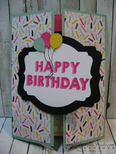 Stampin' Sisters Retreat, Stampin' Studio, Stampin' up! Fun Fold Card, It's My Party DSP, Party Wishes
