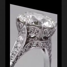 Edwardian Antique Style Platinum Diamond Engagement Ring 2.20 Ct