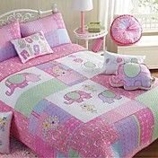 4-Piece Elephant Pattern Quilted Cotton Full ... – USD $ 119.99