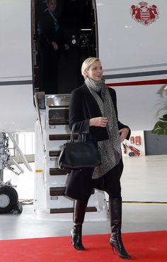 Princess Charlene leaving the Princely jet