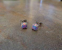 Fire Opal studs Earrings, Purple Opal with 316L Surgical Steel Post, hypoallergenic earrings 3mm, 4mm,5mm