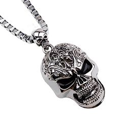 2017 new Vintage skull pendant necklace titanium plated choker necklace men fashion Rock collier Punk men jewelry collares 75015 Punk Jewelry, Fashion Jewelry Necklaces, Men's Jewelry, Fashion Necklace, Jewelry Watches, Gothic Jewellery, Fashion Jewellery, Skull Necklace, Men Necklace