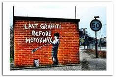 banksy – Szukaj wGoogle Banksy, Graffiti, Cast Acrylic, Brown And Grey, Wall Art Prints, Places, Suit, Outdoor Decor, Home Decor