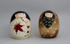 Usaburo Kokeshi dolls autumn and winter