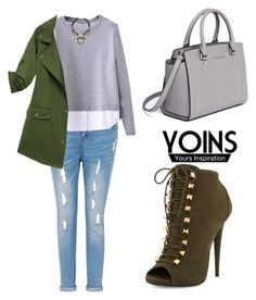 """""""YOINS Army Green Coat"""" by tania-alves ❤ liked on Polyvore featuring Giuseppe Zanotti, MICHAEL Michael Kors, Nocturne, women's clothing, women's fashion, women, female, woman, misses and juniors"""