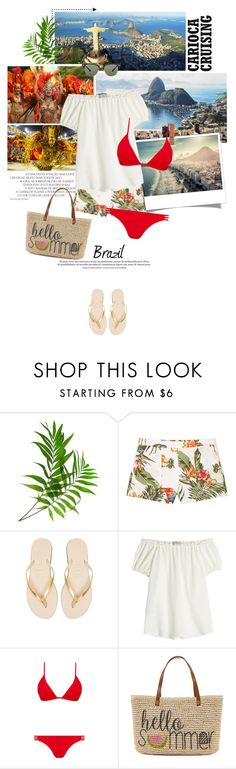 """""""14 - Rio de Janeiro"""" by pippi-loves-music ❤ liked on Polyvore featuring Consigli, MANGO, Havaianas, Etro, Melissa Odabash, Straw Studios and Ray-Ban"""