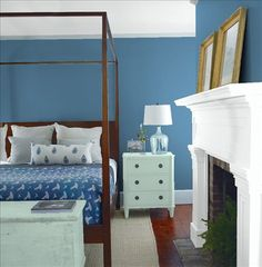 Look at the paint color combination I created with Benjamin Moore. Via @benjamin_moore. Wall: Bedford Blue 1679; Mantle: Chalk White 2126-70; Chest: Wythe Blue HC-143; Ceiling: Chalk White 2126-70.