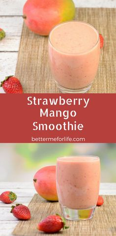 This strawberry mango smoothie is packed with antioxidant and anti-inflammatory benefits. It's high in vitamin C and fiber - and oh so yummy! Find the recipe on BetterMeforLife.com See more great recipes