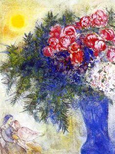 amoreaux au boquet chagall | 1938 Marc Chagall. Les Amoureux au bouquet de fleurs Aquarelle et ...