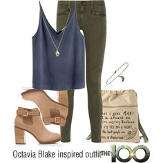 Octavia Blake inspired outfit/The100 by tvdsarahmichele on Polyvore featuring polyvore, fashion, style, AG Adriano Goldschmied, Forever New, Caroll, ADORNIA and Ikuria