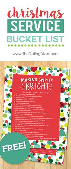 Free Printable Christmas Service Bucket List. A BIG list of service ideas and RAOK to do together as a family. What a great way to get the kids focused on giving instead of getting during the holidays! There's even a blank version too in case you want to fill out your own! www.TheDatingDivas.com
