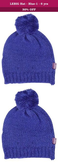 b7f425bb27c LEBIG Hat - Blue-1 - 6 yrs. LEBIG Hat - Blue Cozy Lined Winter Hat In Solid  Blue With Top Pom Pom.
