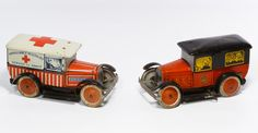 Lot 485: French Wind-Up Lithographed Tin Toy Cars; Two items including an ambulance and a police car