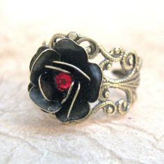 Steampunk Rose Ring - Ruby Red Swarovski Crystal - Neo Victorian Gold Tone Filigree Jewelry - Handmade and Designed by A Second Time