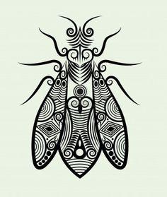 Biene Ornament Tuschezeichnung für Tattoo-Design Stockfoto