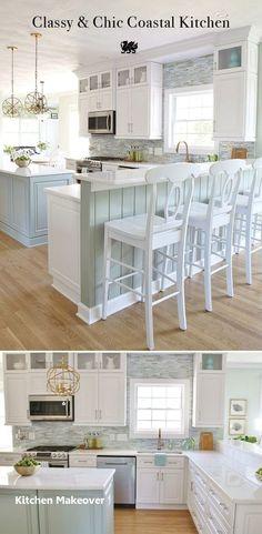 This amazing Coastal Kitchen Makeover has white kitchen cabinets, a seaglass blu… - Modern Kitchen Decor Themes, Home Decor Kitchen, Kitchen Design, Diy Kitchen, Kitchen Ideas, Room Decor, Awesome Kitchen, Beautiful Kitchen, Kitchen Hacks