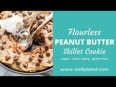 How To Make Flourless Peanut Butter Skillet Cookie - YouTube