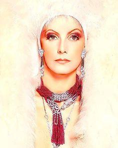 Greta Garbo. Coloured pencils