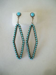 "Super LONG 3"" Vintage ZUNI Petit Point EARRINGS, Block Turquoise & Sterling Silver,  TurquoiseKachina, $197.10"