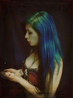 sea green and blue hair