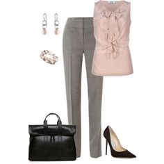 Work outfit by gjs927 on Polyvore featuring Moschino Cheap & Chic, Hobbs, Jimmy Choo, Georg Jensen, 3.1 Phillip Lim, work, pink, business, pearls and jimmy choo