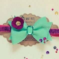 Mint & Orchid embellished Bow Headband by Little Magic Pieces