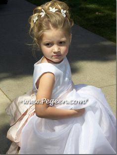 White organza and blush pink silk flower girl dresses style