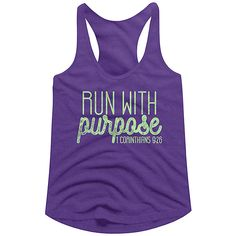 American Classics Purple Rush 'Run With Purpose' Racerback Tank ($9.99) ❤ liked on Polyvore featuring activewear and american sportswear