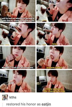 , omg I love Jin eating more than he does. Is that sad lol
