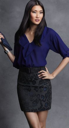 Ann Taylor work outfit: blue blouse, black (with blue accents) skirt, cuff bracelet and black sheer hose. Office Outfits, Stylish Outfits, Cool Outfits, Office Wear, Blouse And Skirt, Blouse Outfit, Blue Blouse, Petite Outfits, Petite Clothes