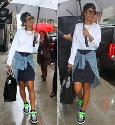 Rihanna in Rihanna for River Island zip front shirt skirt, Air Jordan Retro I…