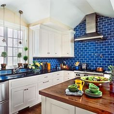 Blue subway tile kitchen backsplash home chef – jroots. Blue Kitchen Decor, Kitchen Wall Colors, Kitchen Interior, New Kitchen, Kitchen Wood, Kitchen White, Floors Kitchen, Kitchen Country, Island Kitchen