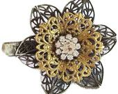 Womans Vintage Inspired Hairclip,  Handmade Flower and Rhinestone Hair Accessory,  Art Deco Style, ooak