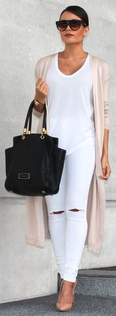 Blush long cardigan white T and distressed jeans